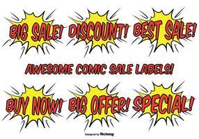 Conjunto de etiquetas promocionais estilo comic vetor