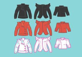 Ícones de jaquetas de couro vetor
