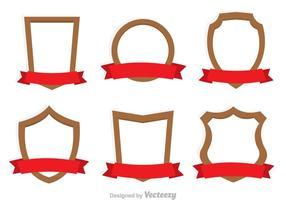 Ícones de escudo e fita vetor