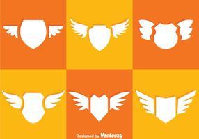 Ícones de escudo e asas vetor