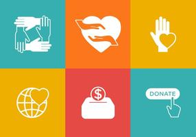 Jogo de ícones de doações de vetores