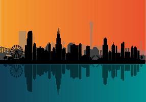 Horizonte da noite do Chicago do vetor