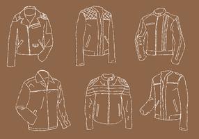 Jaqueta de couro Line Art Vector Set