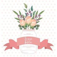 modelo de cartão de rosas vetor