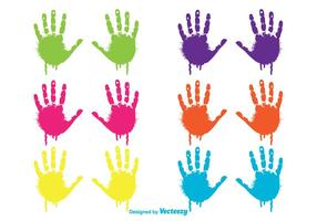 Conjunto de Handprints de criança Dripping Colorido vetor