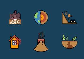 Conjunto de ícones do terremoto do vetor