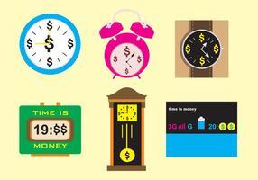 O tempo é dinheiro Relógios e relógios vetor