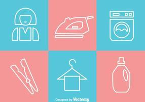 Ícones brancos do esboço da lavanderia vetor