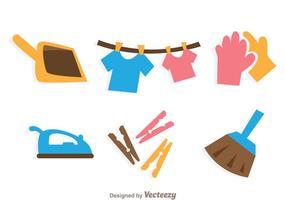 Ícones de limpeza de tarefas domésticas vetor