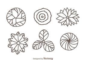 Ícones do desenho da mão da parte superior da planta vetor