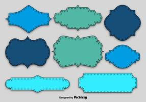 Etiquetas em branco azul e verde vetor