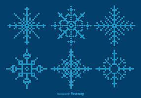 Flocos de neve azul de Pixeles vetor