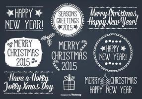 Conjunto de etiquetas de Natal com estilo desenhado à mão vetor