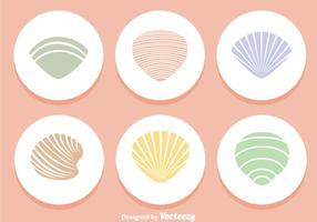 Ícones de cores de conchas vetor