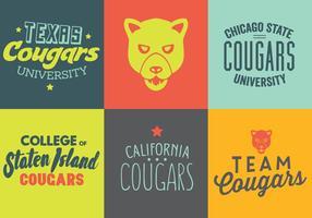 Vector Set of Cougar Logos e Etiquetas