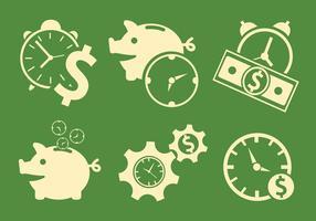 Vector Símbolos de Tempo e Dinheiro