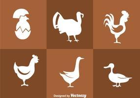 Ícones de silhueta branca da galinha