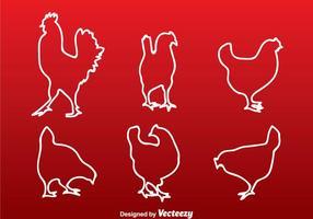 Silhueta da linha branca da galinha vetor