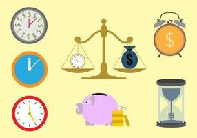 """Ilustrações vetoriais para o conceito """"Time is Money"""" vetor"""