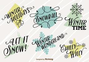 Ícones de Feliz Natal com textos de inverno felizes vetor
