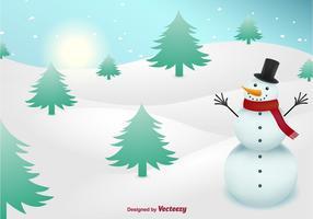 Snowman no fundo da neve vetor