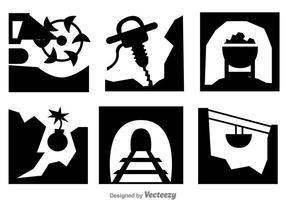 Ícones de Processo de Escavação de Minas de Ouro vetor