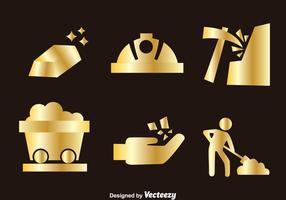 Ícones de mina de ouro vetor