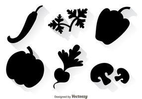 Ícones pretos de vegetais vetor