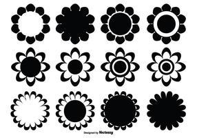 Conjunto de formas de flores variadas