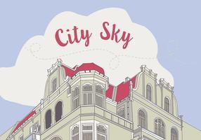 Ilustração de fundo da construção da cidade desenhada à mão livre