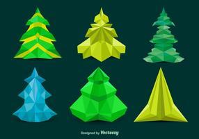 Árvores de pinheiros poligonais vetor
