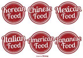 Conjunto de etiqueta de comida variada vetor