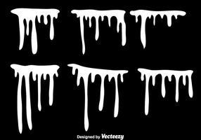 Conjunto de gotejamento de tinta branca vetor