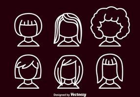 Conjunto de avatar do esboço da menina vetor