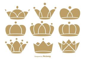 Ícones de coroa plana vetor