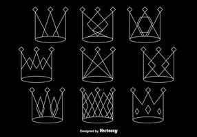 Coroas de linha branca vetor