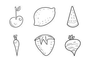 Ilustração vetorial livre de colorir frutas e vegetais grátis vetor