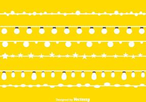 Luzes de cordas brancas vetor