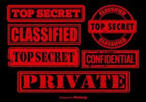 Vetores vermelhos de selo top secret