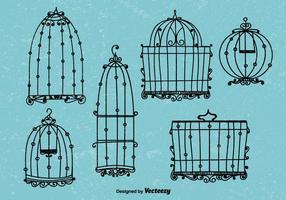 Vetores de gaiola de pássaro estilo vintage doodle