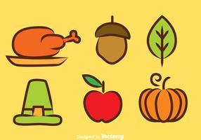Ícones de cores de Ação de Graças vetor