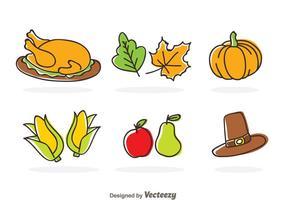 Ícones dos desenhos animados de Ação de Graças vetor