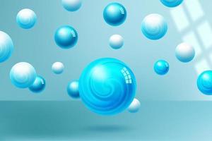 fundo brilhante de esferas azuis vetor