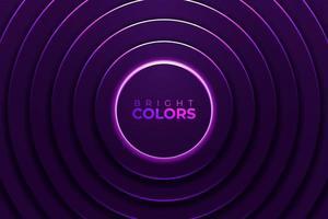 círculos roxos brilhantes de néon vibrante vetor