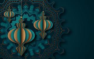 design de mandala de cartão islâmico para o Ramadã vetor