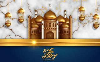 design de mesquita dourada para o mês do ramadan kareem vetor