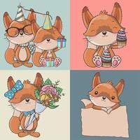 conjunto de raposas bonito dos desenhos animados em estilo simples simples moderno vetor