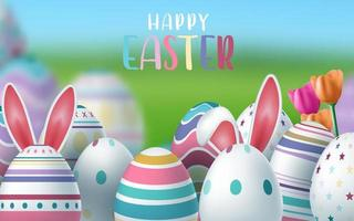 cartão de feliz páscoa com ovos decorados vetor