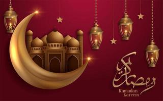 lua dourada de ramadan kareem e mesquita em design vermelho vetor