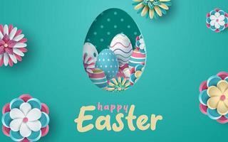 saudação de Páscoa com ovo em forma de quadro vetor